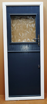 blue stable door with large glass